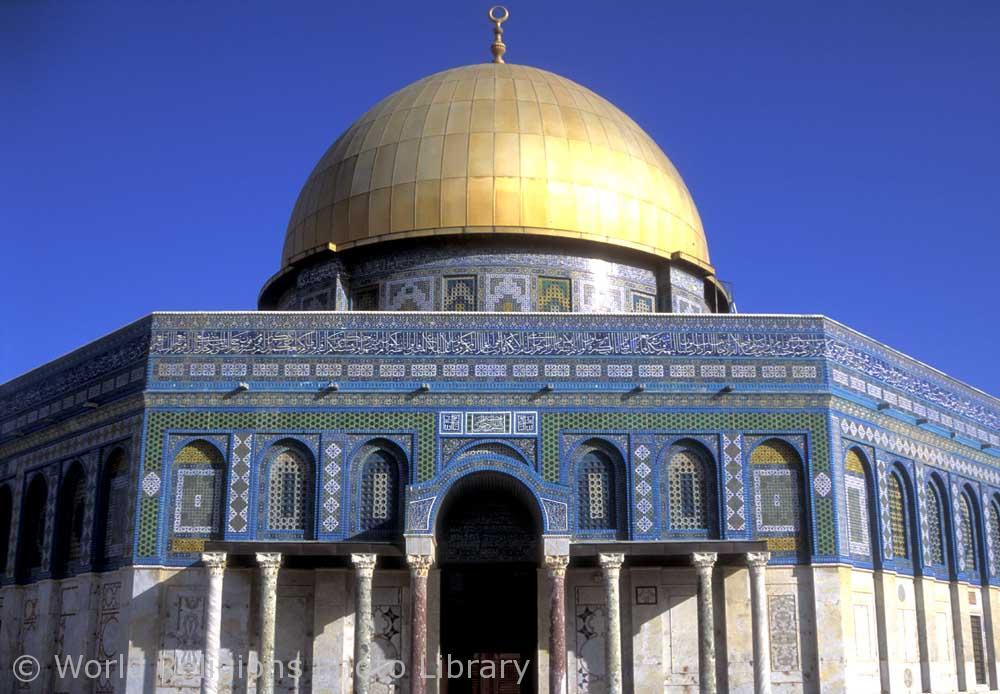The Dome of the Rock built on the Haram ash-Sharif .