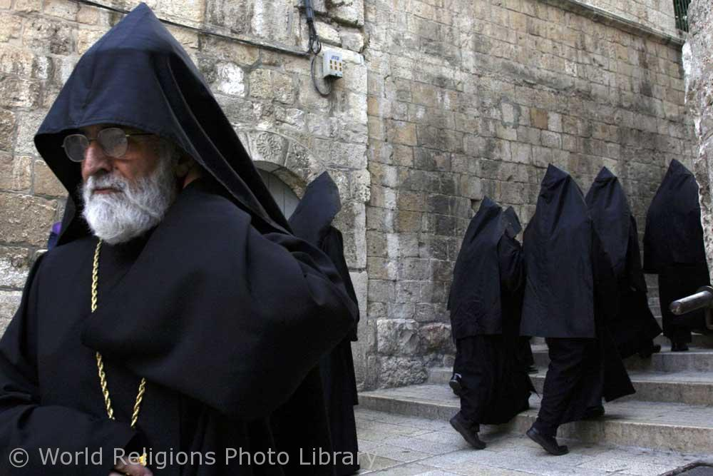 Armenian priests in Old City of Jerusalem