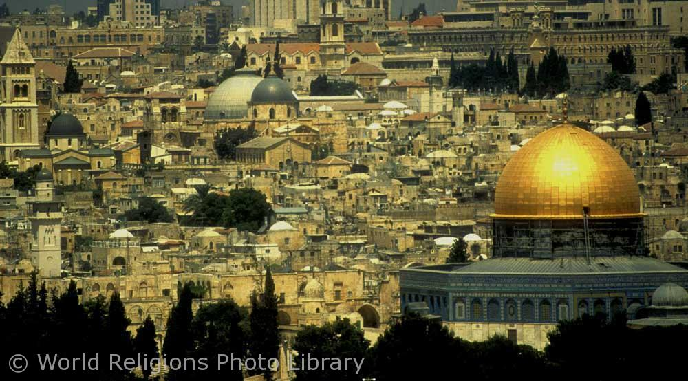 The Dome of the Rock in Jerusalem in the heart of the Old City.