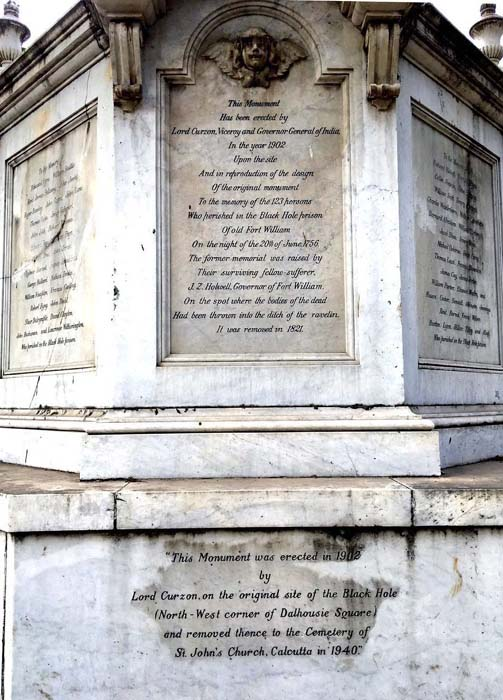Monument to the 123 deceased in the Black Hole of Calcutta, 1756