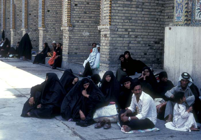 Shi`ite families fasting in the courtyard of the Imam Ali shrine in Kerbala, Muslims