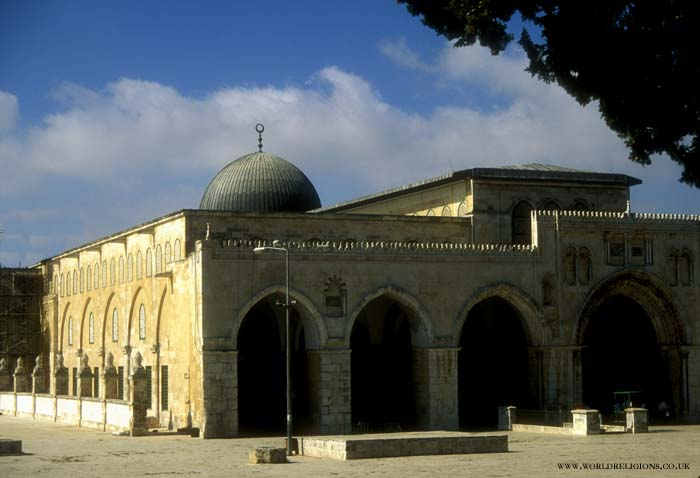 Al-Aqsa Mosque built in 705 CE is at the southern end of the Noble Sanctuary.